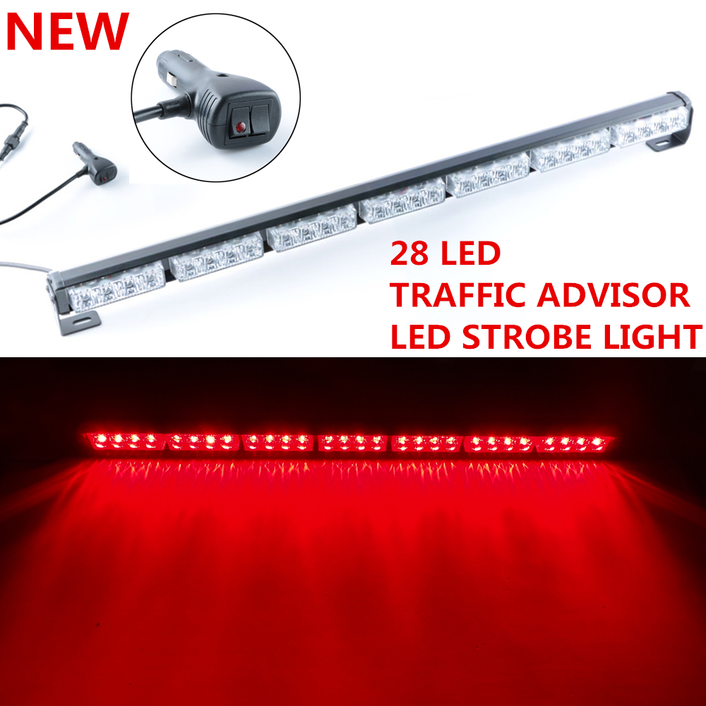 led car emergency warning traffic advisor flash strobe light bar red. Black Bedroom Furniture Sets. Home Design Ideas