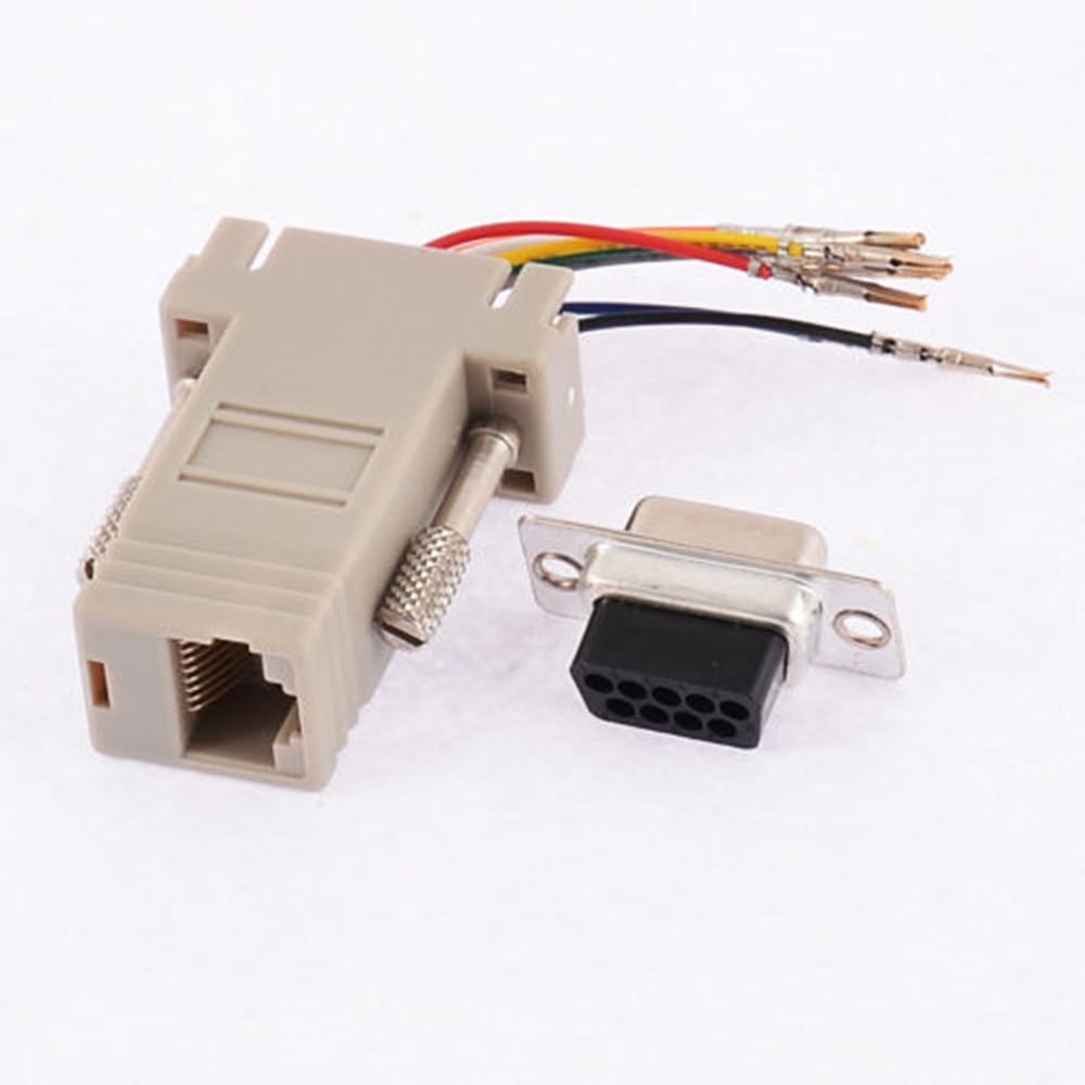 rs232 db9 stecker connector zu rj45 buchse ethernet adapter grau neu ebay. Black Bedroom Furniture Sets. Home Design Ideas