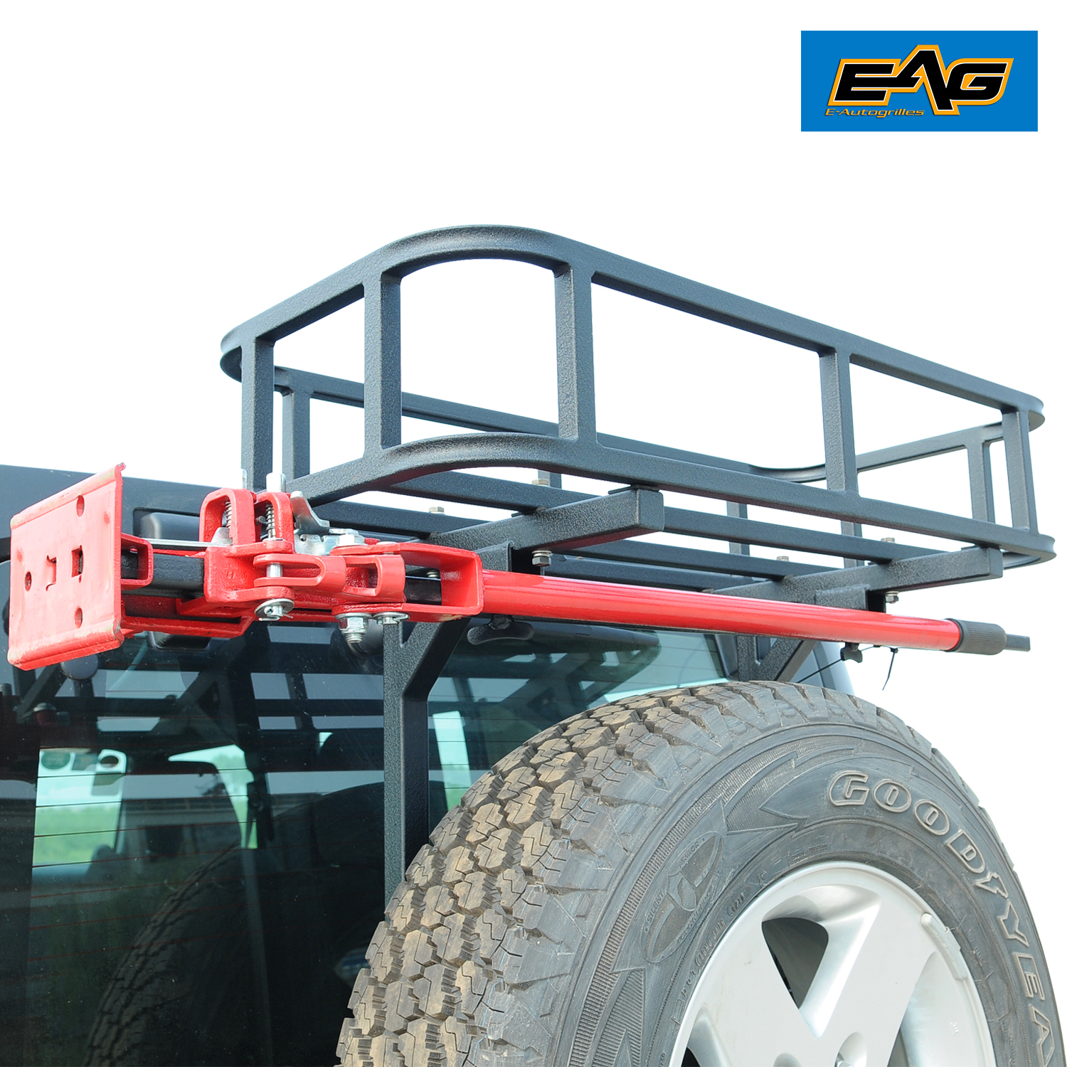 Jeep Cargo Basket: Black Rear Cargo Basket+Rear Bumper With Tire Carrier For