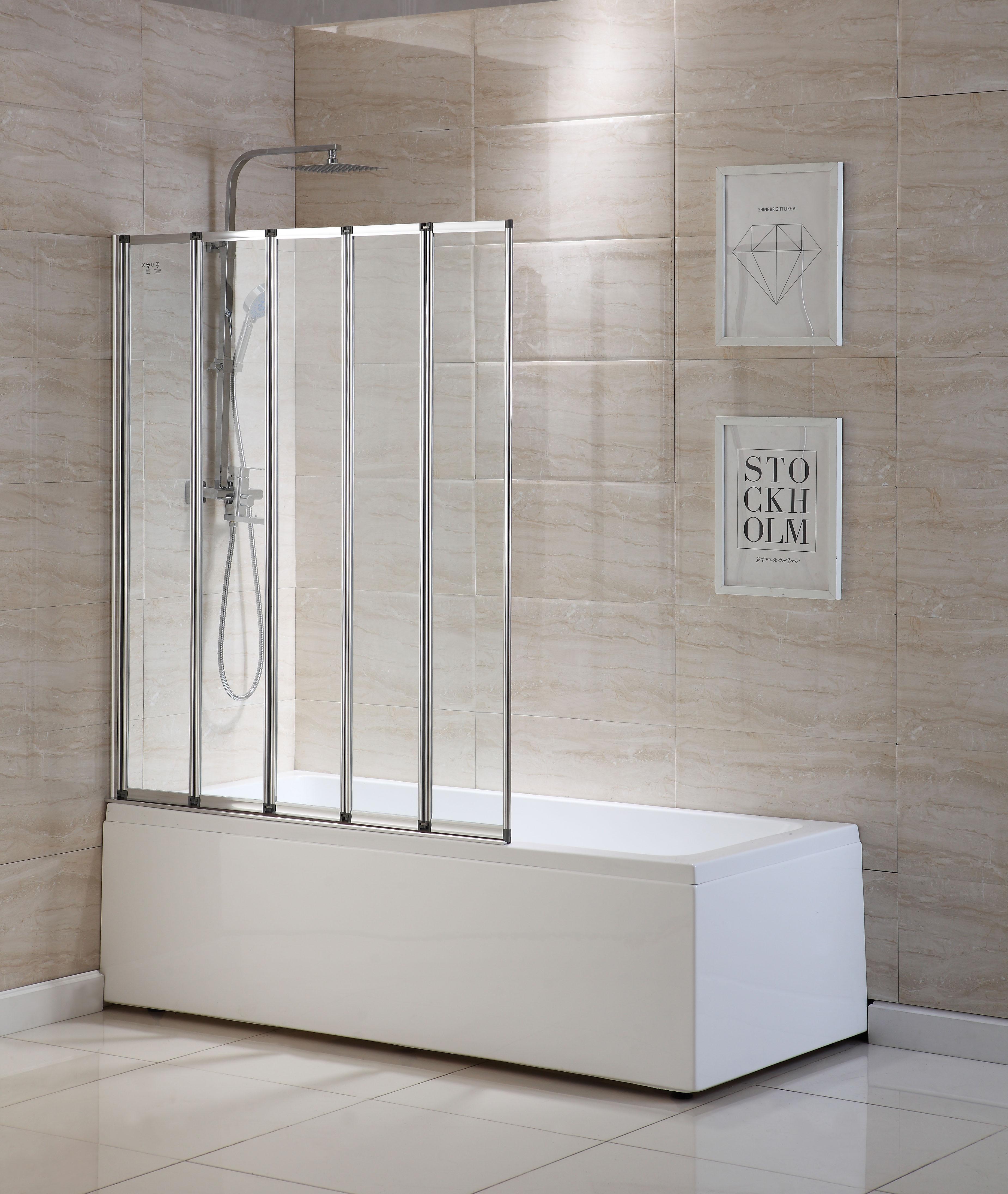 5 Fold 1200x1400mm Matt Silver Folding Bath Shower Screen Door Panel