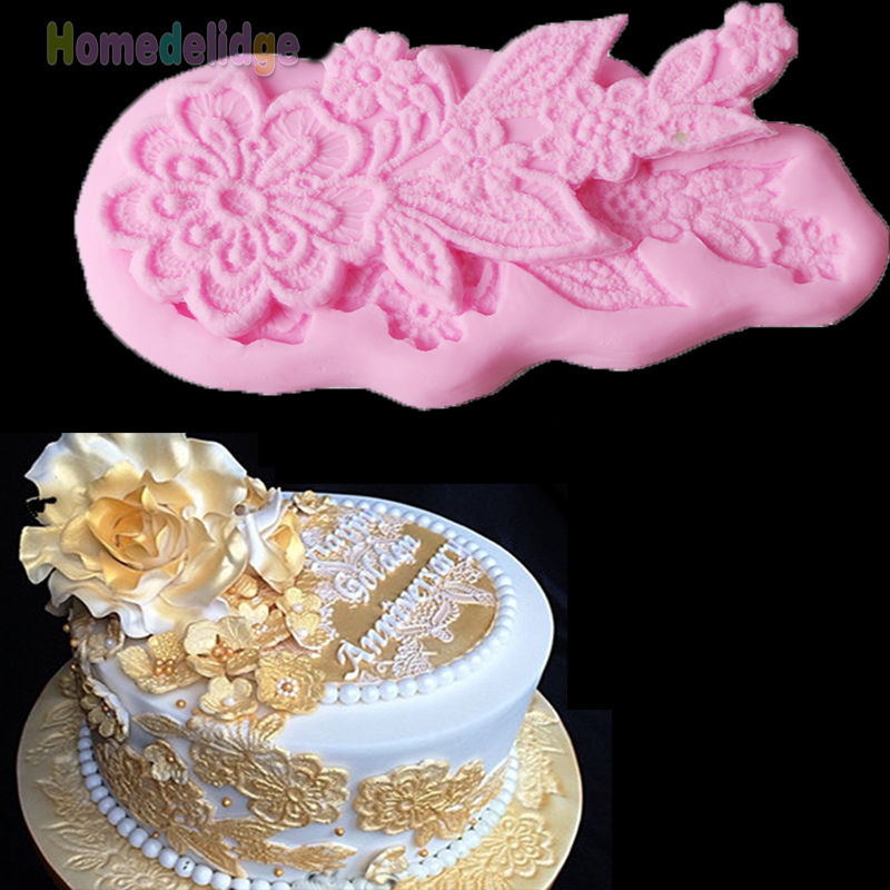 Cake Decorating Sugarcraft Moulds : Silicone Fondant Lace Mould Embosser Mat Cake Sugarcraft ...