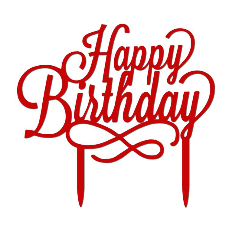Happy Birthday Cursive Cake Topper