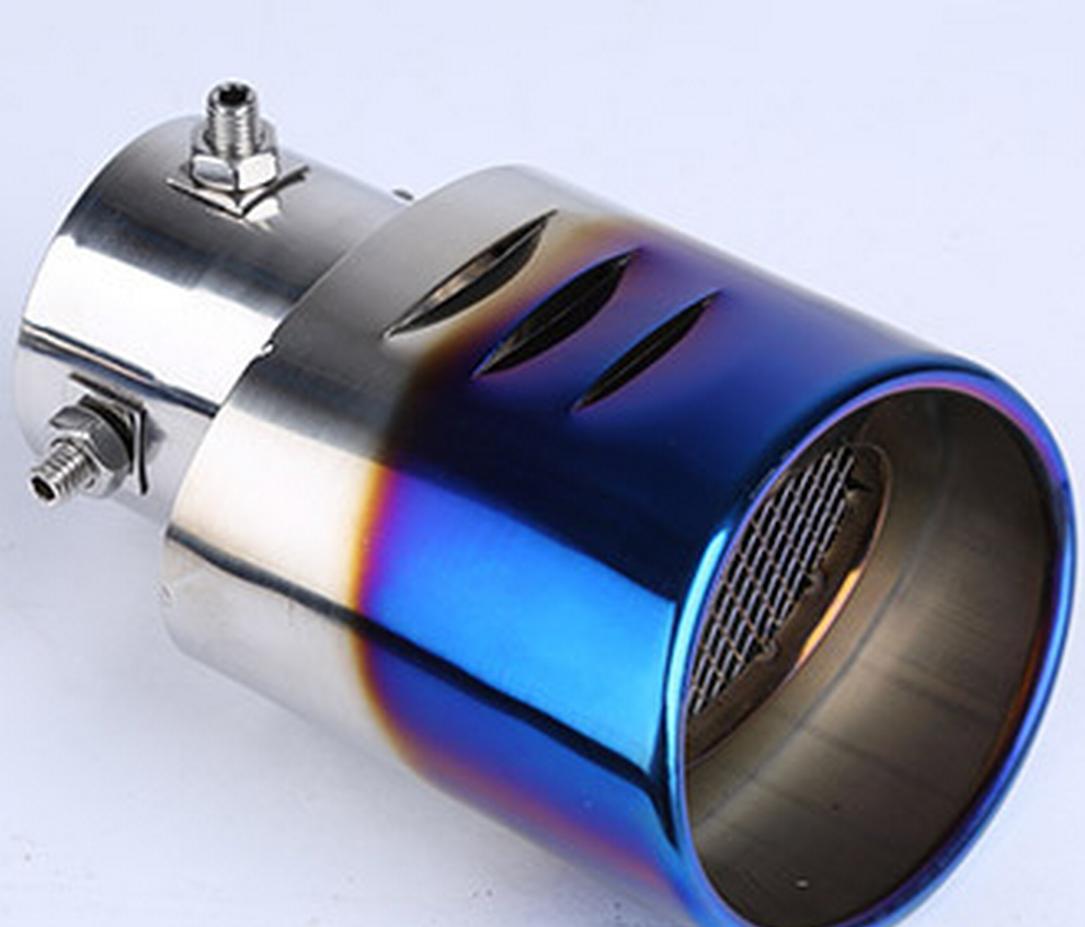 Car Universal Burnt Blue Stainless Steel Chrome Exhaust Tail Muffler Tip Pipe YY