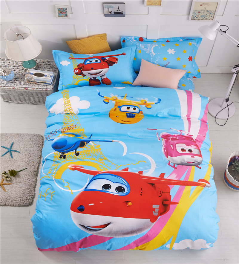 Super Wings Cartoon King Single Size Bed Quilt Duvet Doona Cover Set