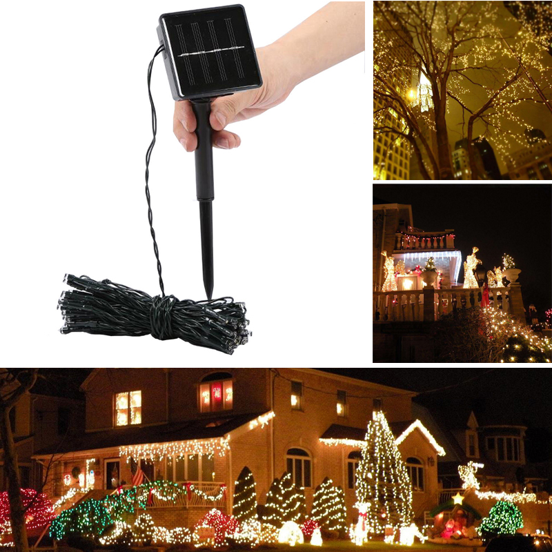 solar lichterkette 500 led deko au en garten warmwei solar lampe kette 8 modell ebay. Black Bedroom Furniture Sets. Home Design Ideas