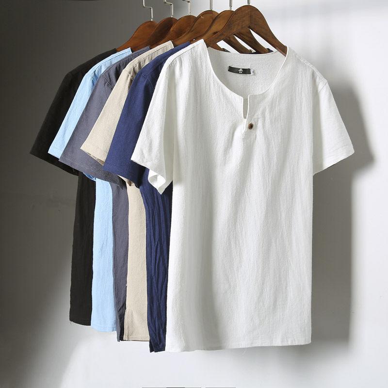 Summer mens linen flax short sleeve shirt t shirt japanese for Mens summer linen shirts