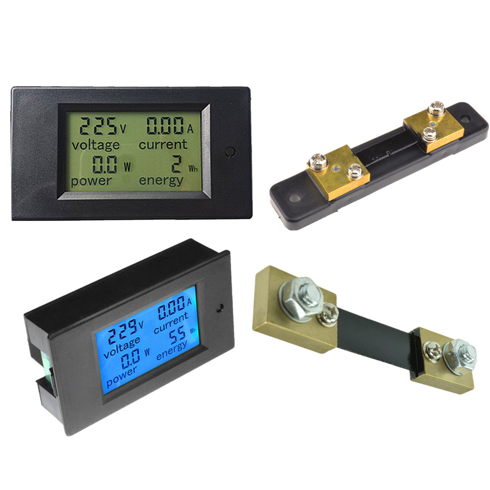AC/DC 6.5~100V 20/50/100A LCD Combo Panel Display Volt Amp Power ...