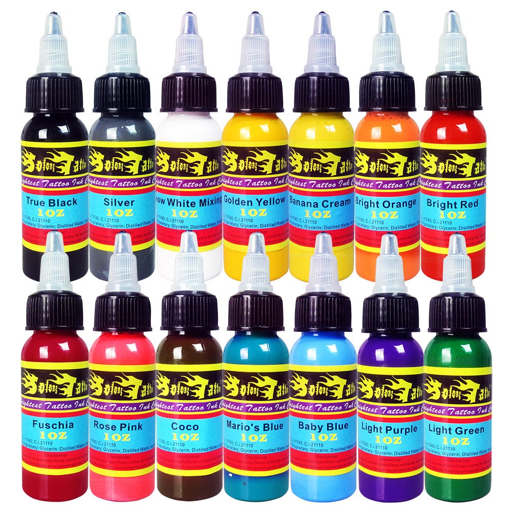 solong tattoo ink 14 colors set 1oz 30ml bottle tattoo