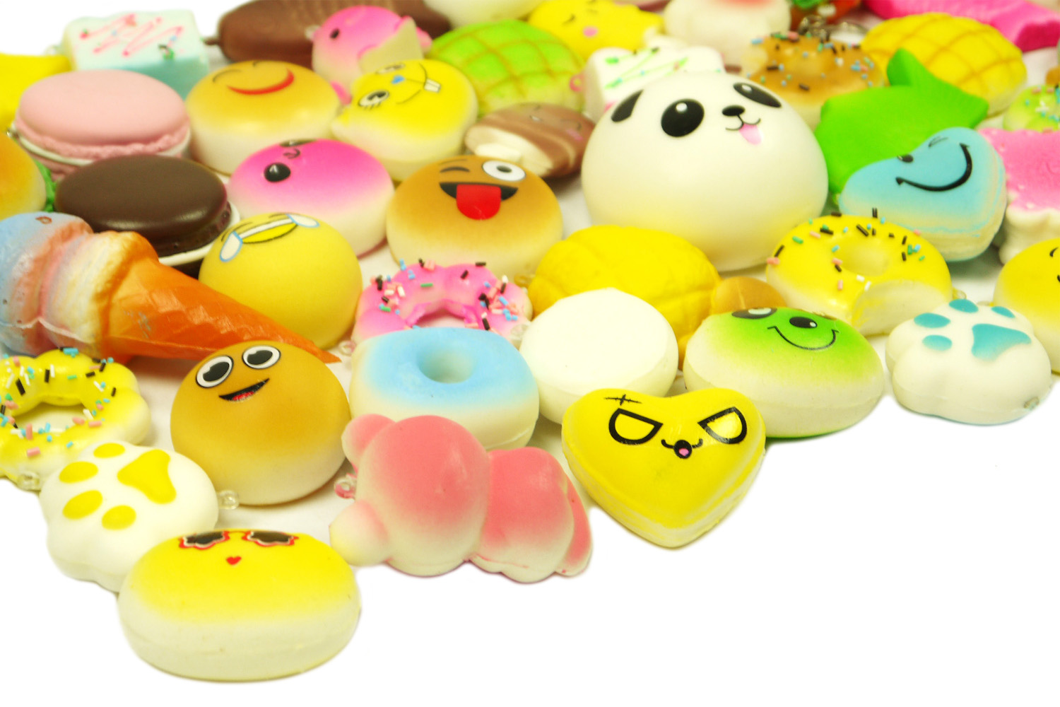 Squishy Donuts Kawaii : MS 12pcs Random Mini Kawaii Squishies Soft Foods Panda Donuts Cell Phone Charms eBay