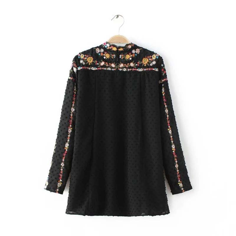 Womens Floral Embroidery Tee Sheer Black Shirts Long