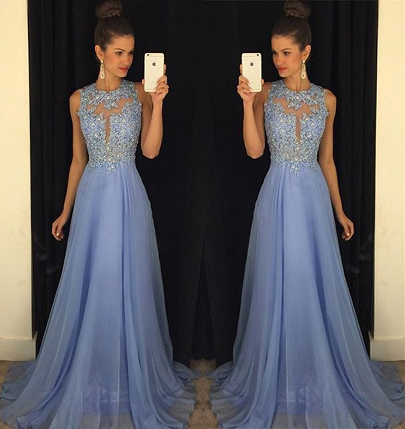 Long Chiffon Elegant Formal Evening Dress Wedding Bridal Dress Prom ...