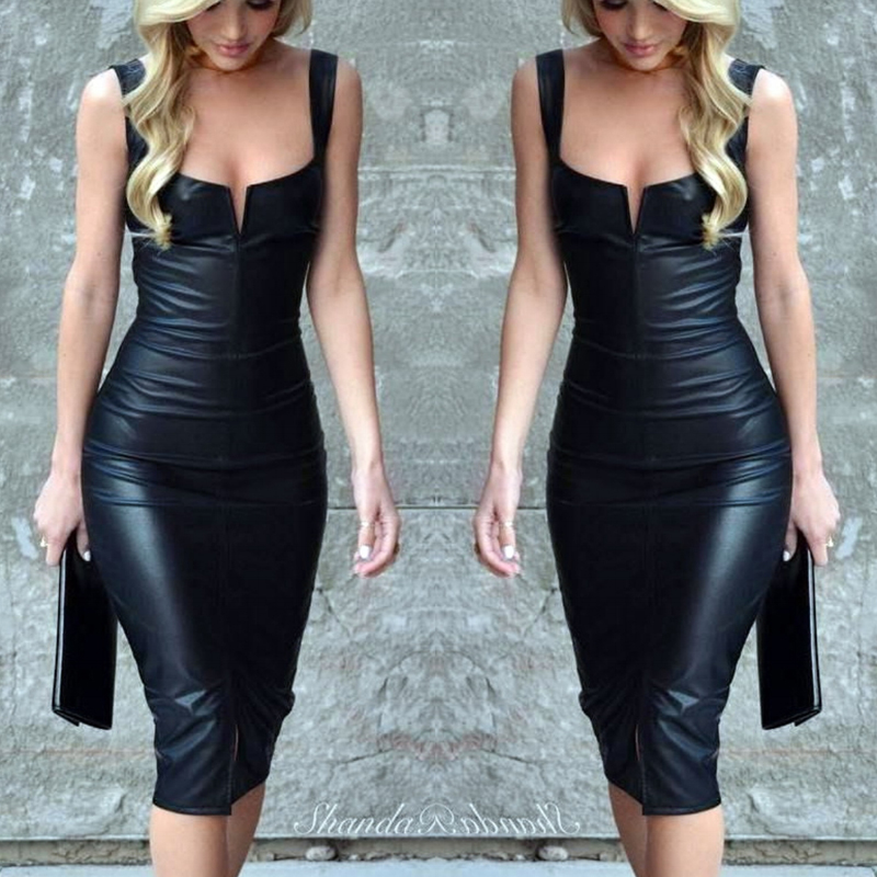af30a8955 Fashion Women PU Leather Bandage Bodycon Sleeveless Club Party Short ...