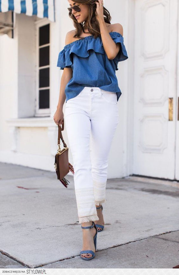 Women Vintage Off Shoulder Tops Casual Party Jeans Shirt ... Jeans And Tops For Party