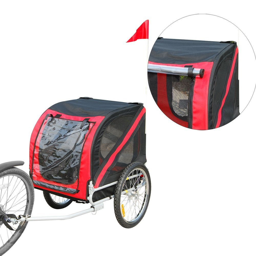 folding pet bicycle trailer dog cat bike carrier w. Black Bedroom Furniture Sets. Home Design Ideas