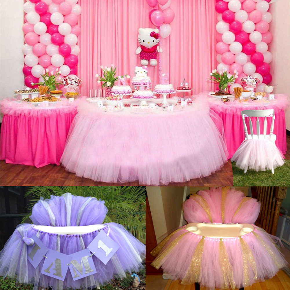 Tulle tutu table chair skirt for wedding birthday party - Decoration baby shower fait maison ...