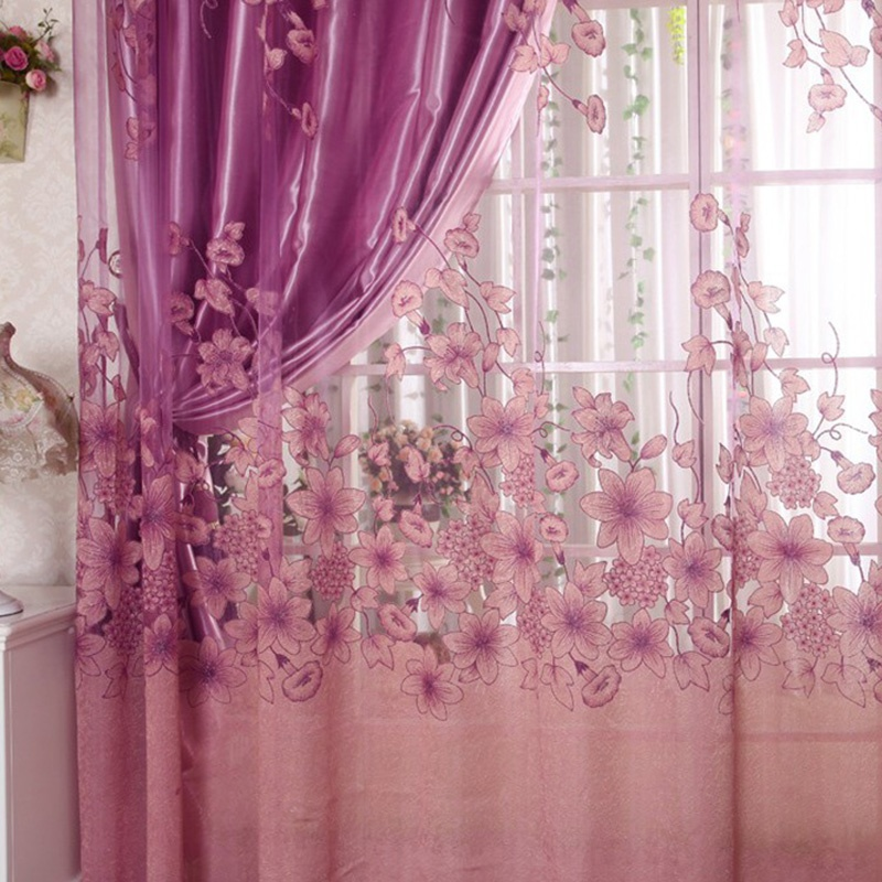 New Floral Voile Window Curtain Blackout Tulle Curtain