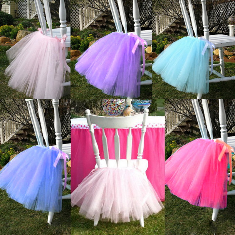Tulle Tutu Table Chair Skirt For Wedding Birthday Party