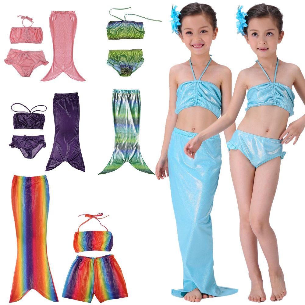 5a8d5f5aef Details about OZ Kids Girls Swimmable Mermaid Tail Swimwear Bikini Beach  Swimsuit Fancy Dress