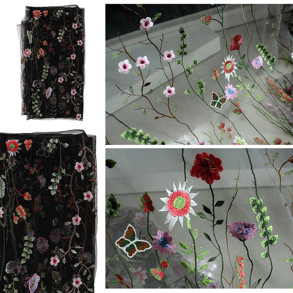 Yard black lace mesh fabric tulle exquisite floral