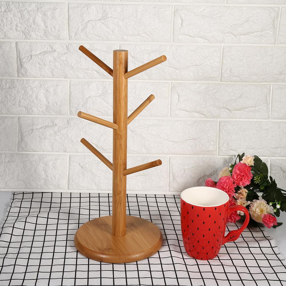 Mug Shelf Kitchen: Useful Desktop Storage Wood Mug Rack Cup Holder 6 Hooks
