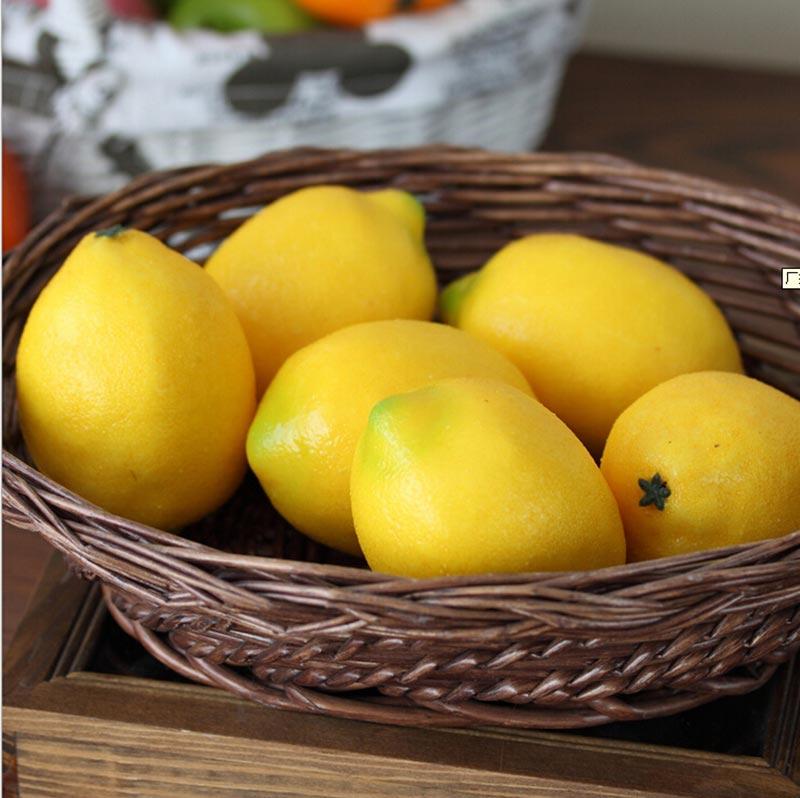 Home Decor Lifelike Artifical Imitation Lemon Fake Plastic