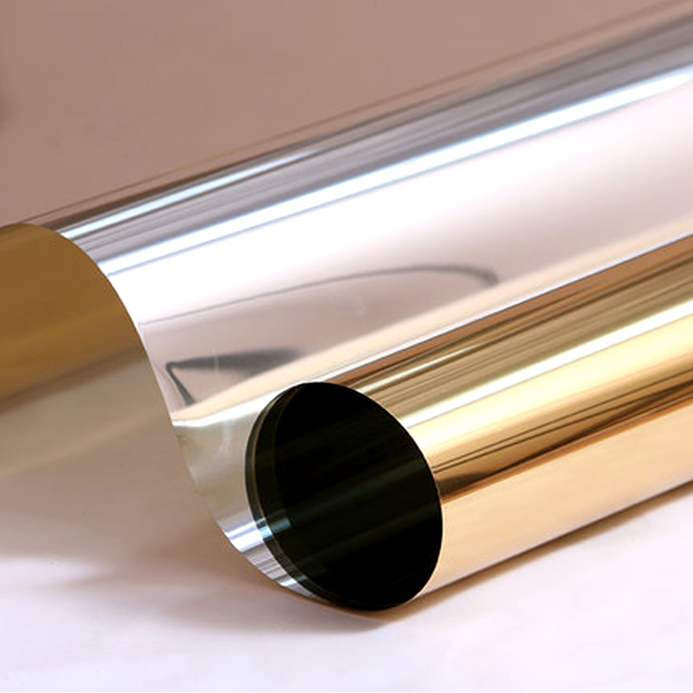Gold Stop Heat Mirror One Way Window Film 85 UV Rejection