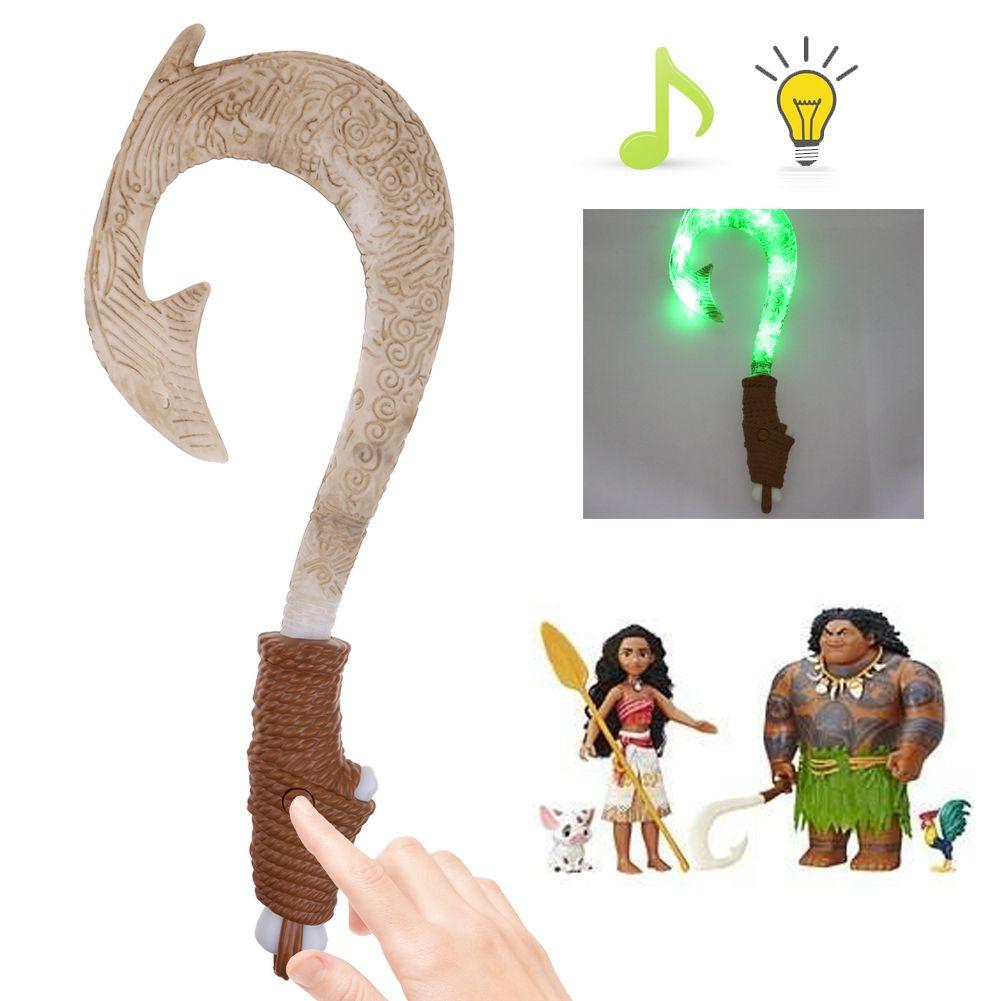 Hot gifts maui light up sound fish hook moana toys for for Maui fish hook moana