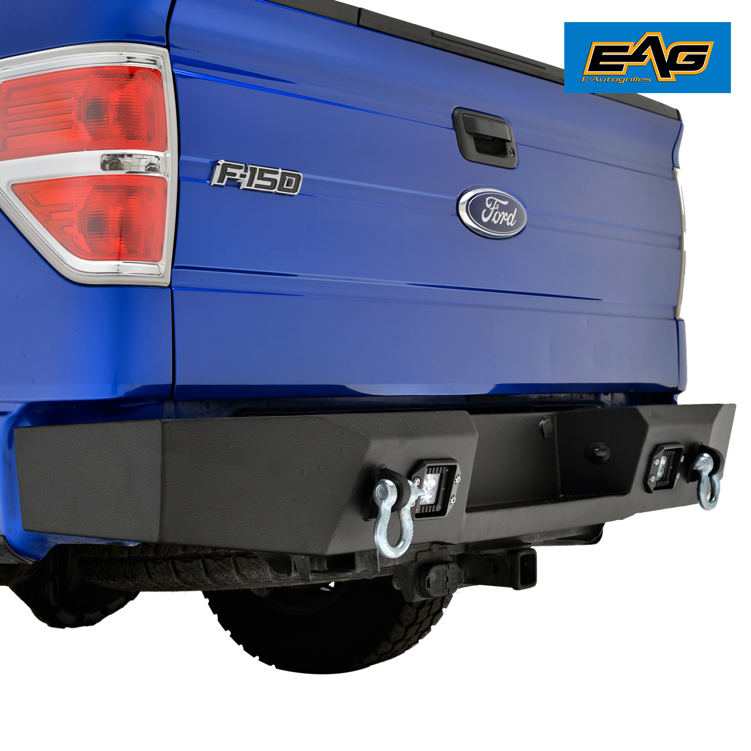 Ford 4600 Square Fender : Steel rear bumper with two w square led lights for