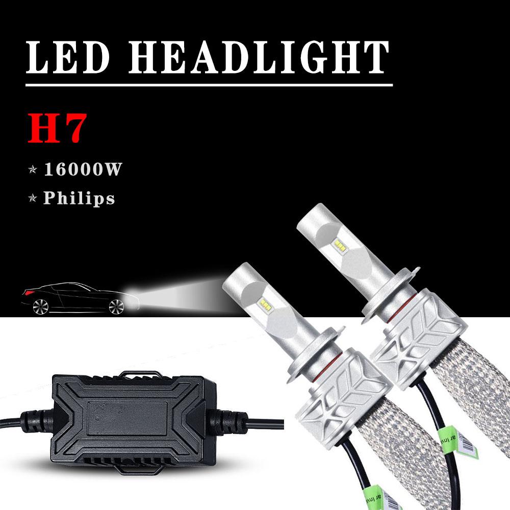 2x160w 16000lm h7 philips car led headlight kit low beam lamps bulbs 6000k white ebay. Black Bedroom Furniture Sets. Home Design Ideas