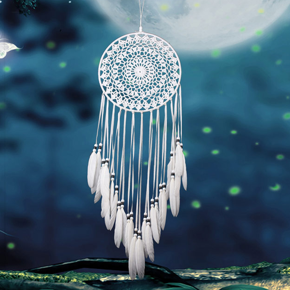 Home Car Wall White Handmade Feathers Dream Catcher