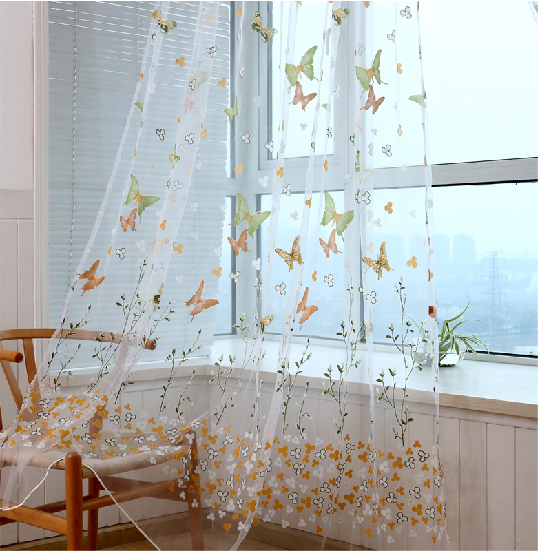 Floral Butterfly Sheer Curtains Sheers Voile Tulle Window Curtain Ebay