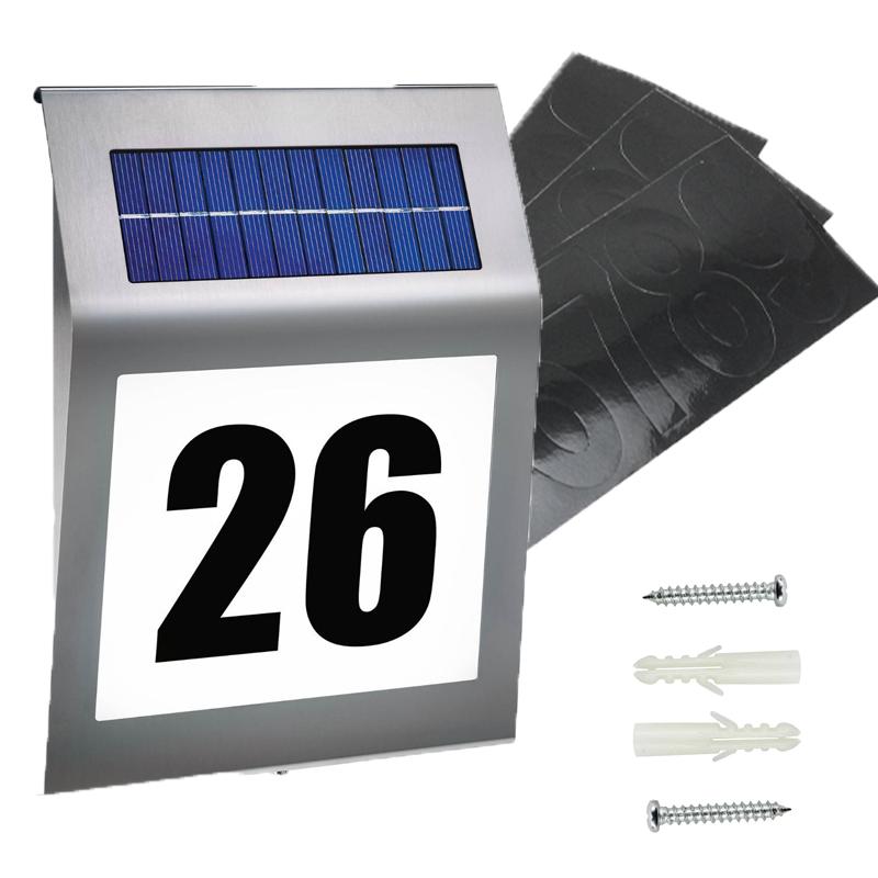 solar hausnummer mit led beleuchtung design edelstahl glas hausnummernleuchte ebay. Black Bedroom Furniture Sets. Home Design Ideas
