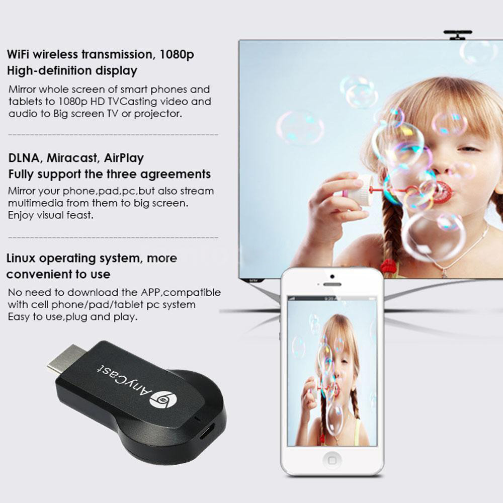 Hd 1080p Anycast M2 Plus Wifi Display Dongle Receiver Airplay Dlna Ezcast Wireless Mirroring 1 Hdmi Cable Usb English User Manual