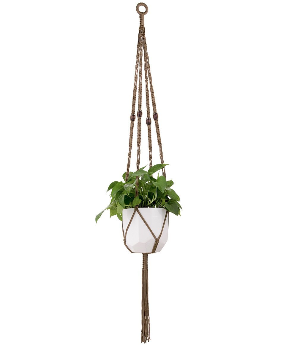 Mkono Macrame Plant Hanger Hanging Planter Basket Cotton