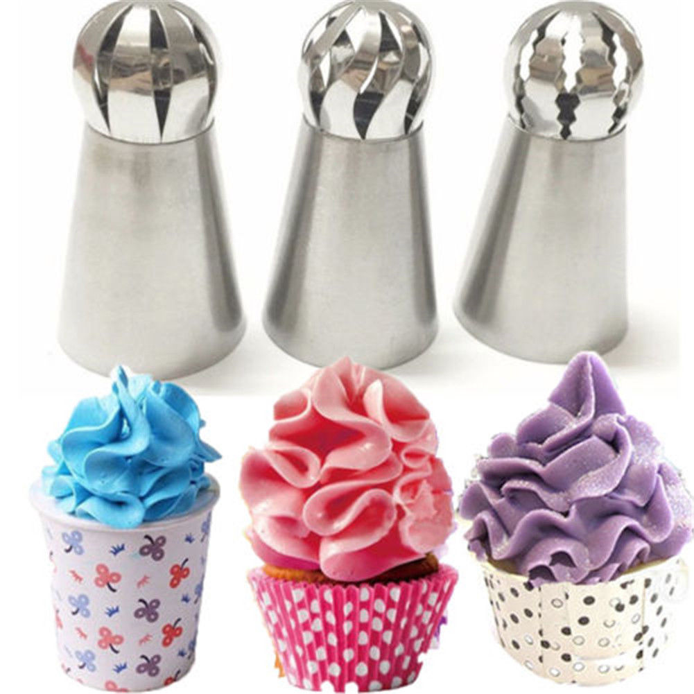 3pc Sphere Ball Russian Icing Piping Nozzles Tips Cake