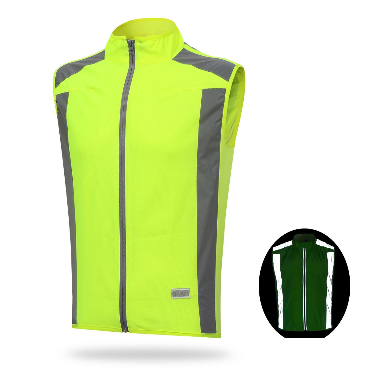 new reflective safety cycling vest running jogging sports windbreaker size s 3xl ebay. Black Bedroom Furniture Sets. Home Design Ideas
