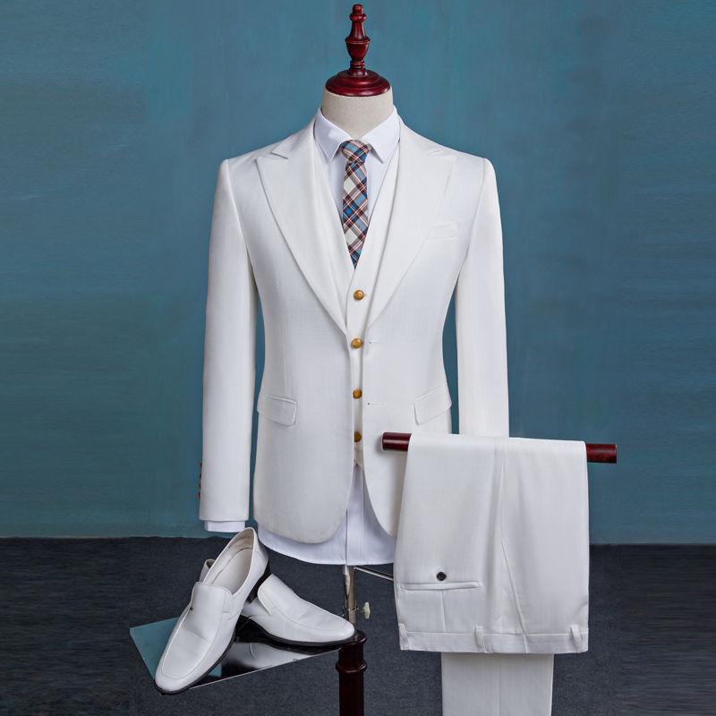 Custom Made White 3Pcs Men\'s Prom Pageant Tuxedos Groom/Groomman ...