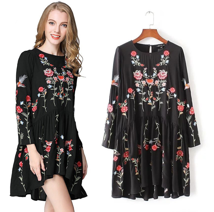 Boho chic gypsy womens floral bird embroidered mini dress