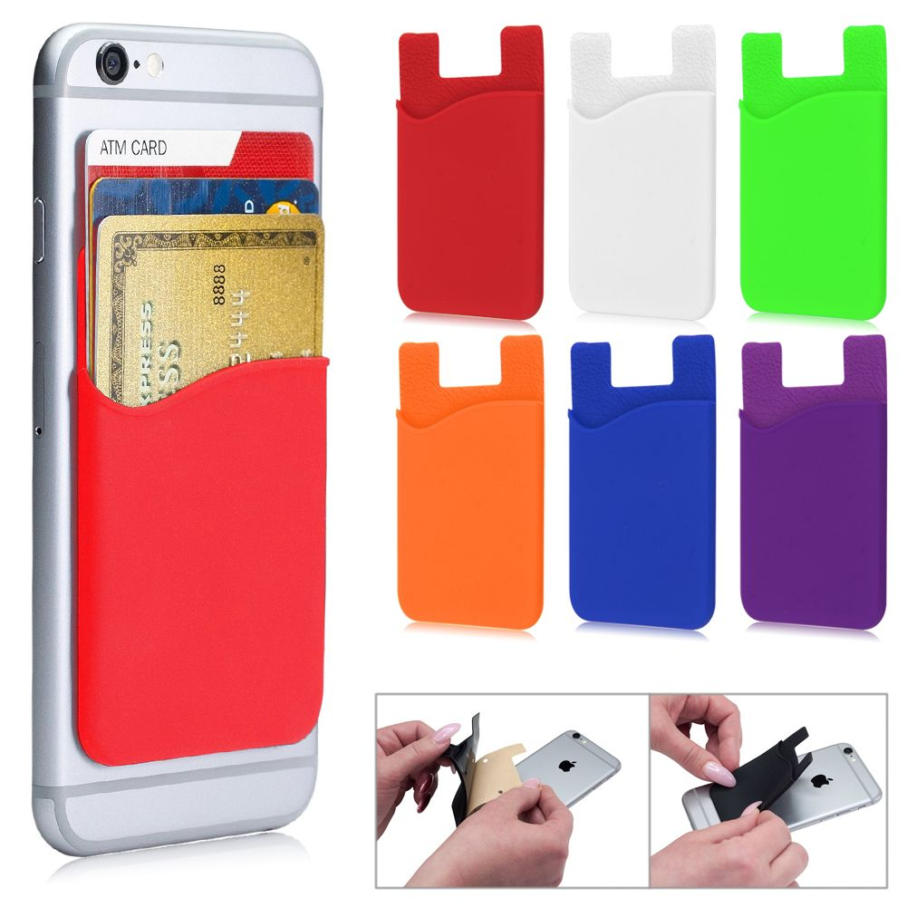 free shipping 15d0e 6bf01 Details about Soft Silicone Adhesive Sticker Back Cover Card Holder Case  Pouch For Cell Phone