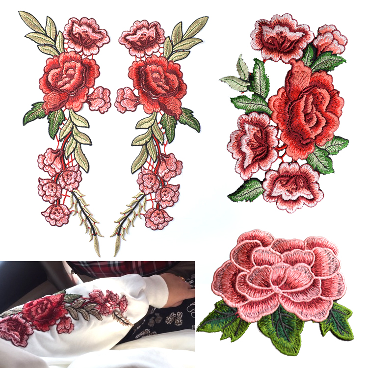 2 x  Rose Flower Embroidered Patch Sew Applique Badge for Dress Craft Clothing