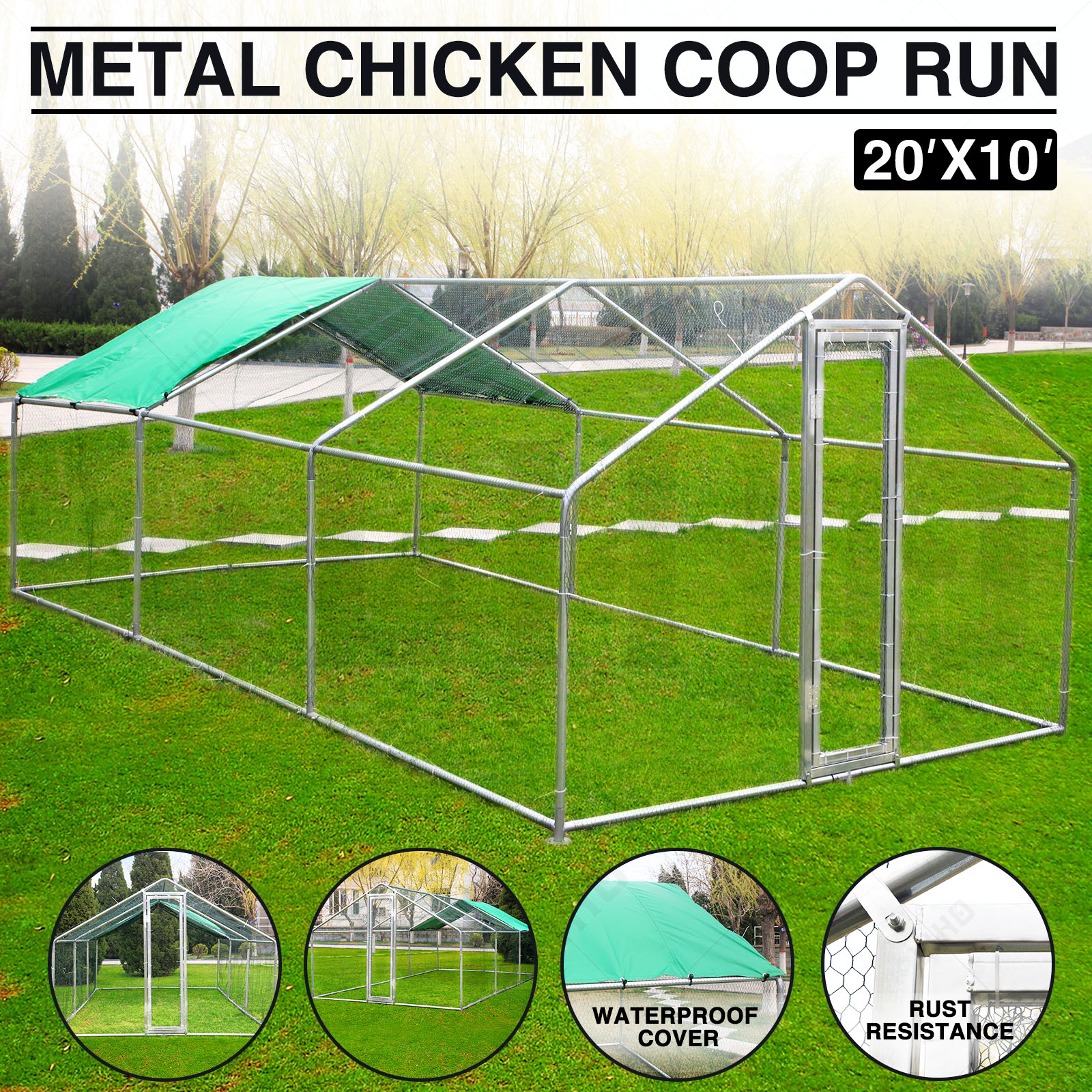 Walk In Chicken House 20x10 ft large metal chicken coop run walk in cage poultry rabbit