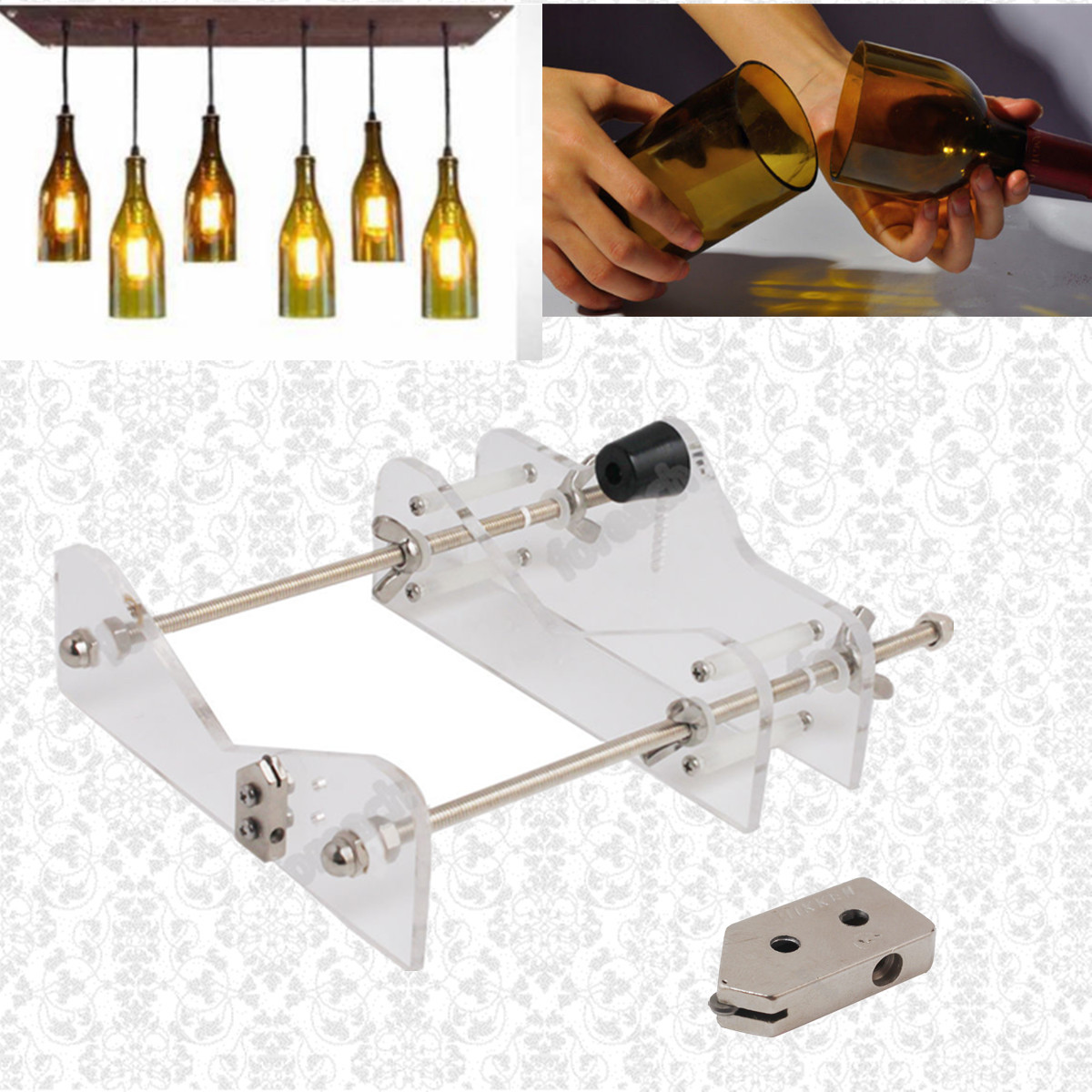 Diy glass wine bottle cutter cutting machine jar craft for Diy wine bottle cutter
