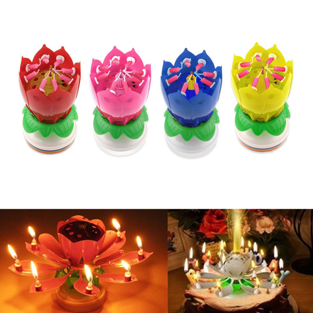 Musical Rotating Lotus Flower Cake Topper Party Birthday Jpg 1001x1001 Spinning Candle Amazon
