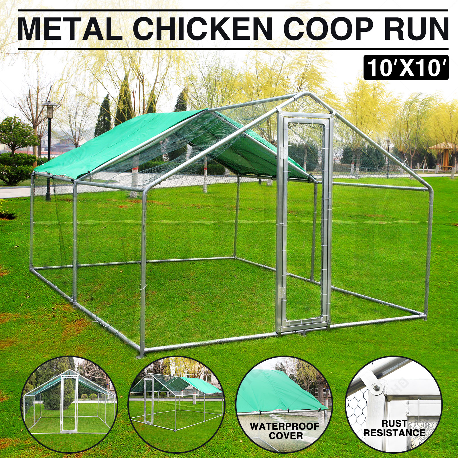 Walk In Chicken House 10x10ft large metal chicken coop run walk in cage poultry pen