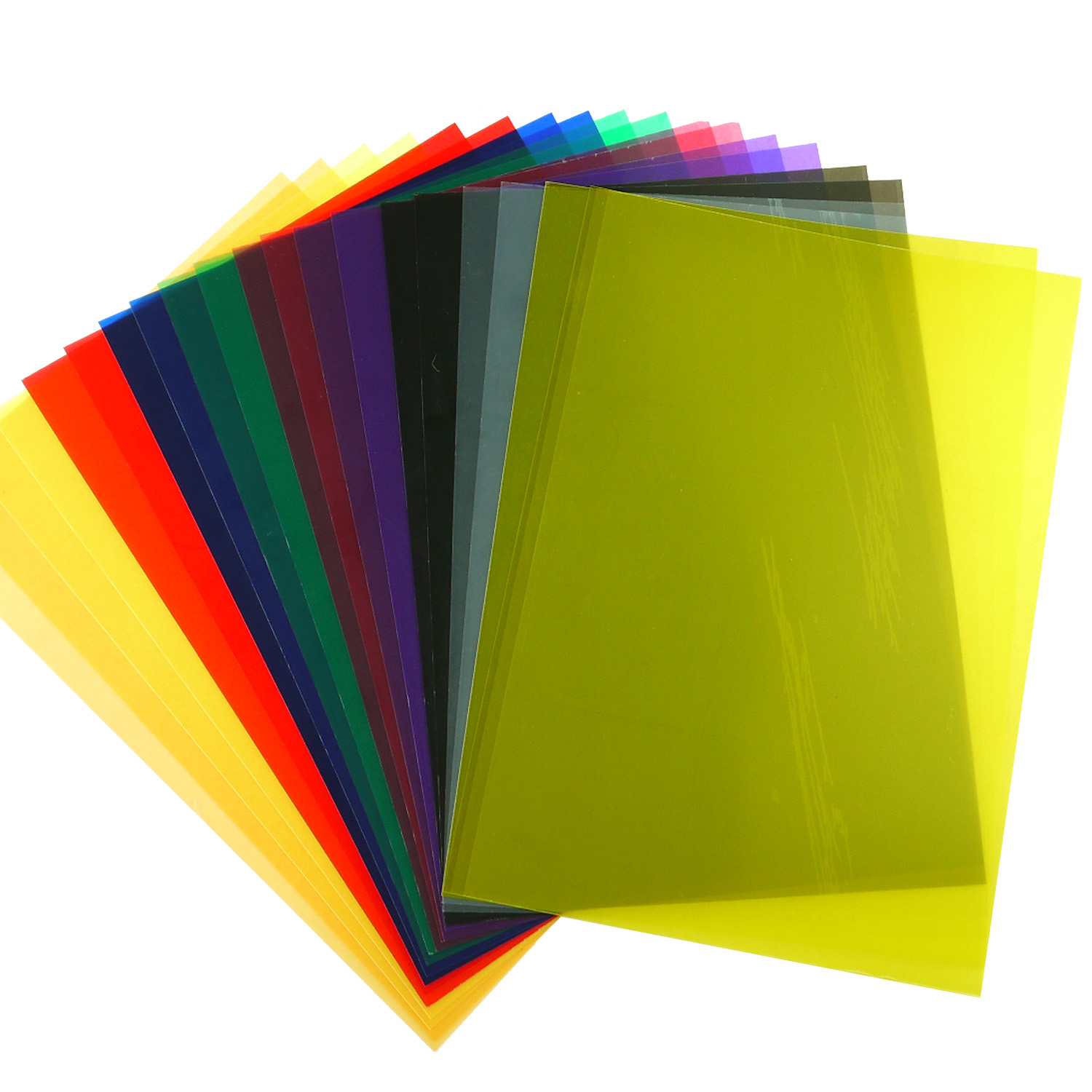 20pcs 10 Color Tinted Plastic Film Sheet Transparent Gel