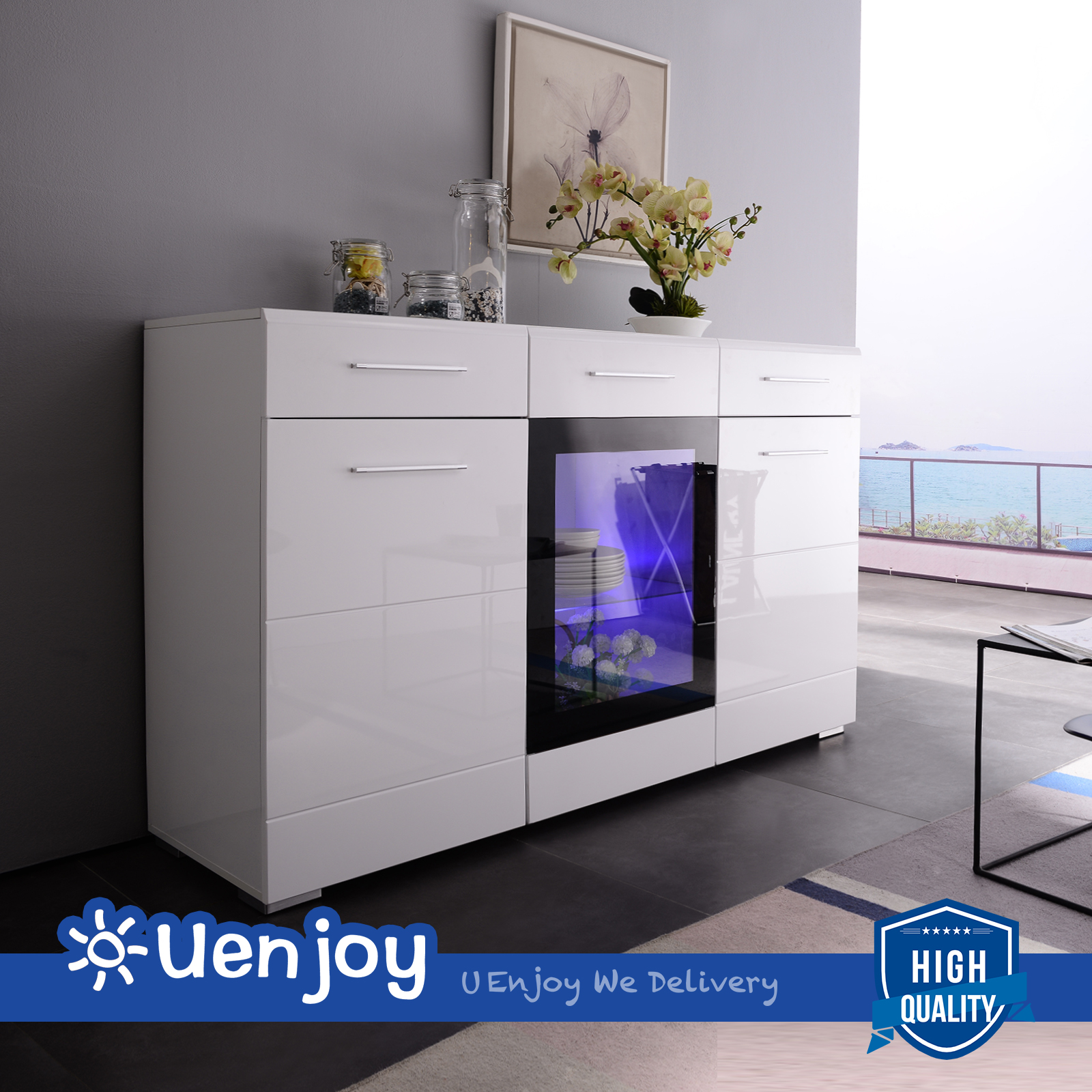 White Gloss Kitchen Cabinets Ebay: High Gloss White LED Display Sideboard Cabinet Cupboard