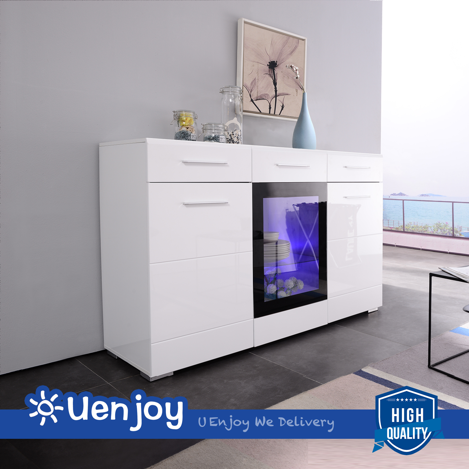 High Gloss White LED Sideboard Cabinet Cupboard Buffet with Remote ...