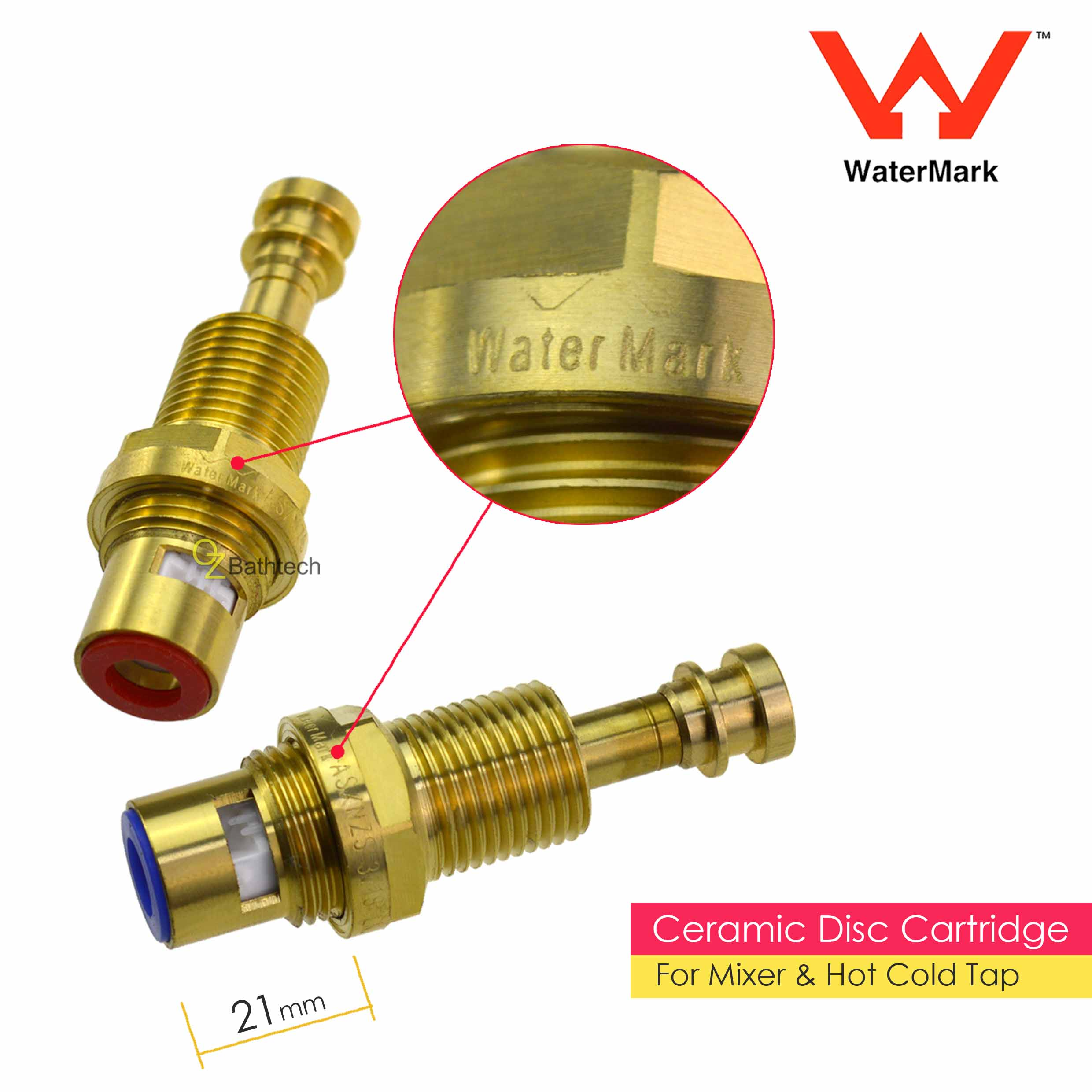 WaterMark Brass Shower Mixer Square Wall 1/4 Turn Hot Cold Twin Taps ...