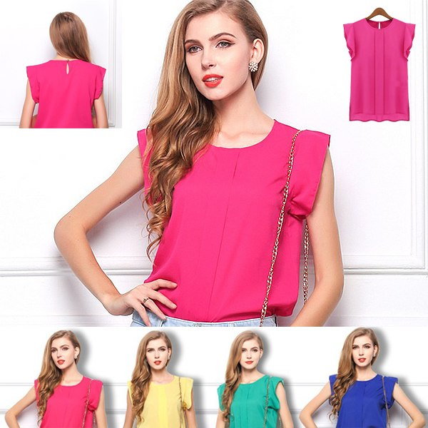 ed0bc6c831f0 Details about Women Ladies Loose Ruffle Short Sleeve Tops Blouse Shirt  Casual Chiffon T-Shirt