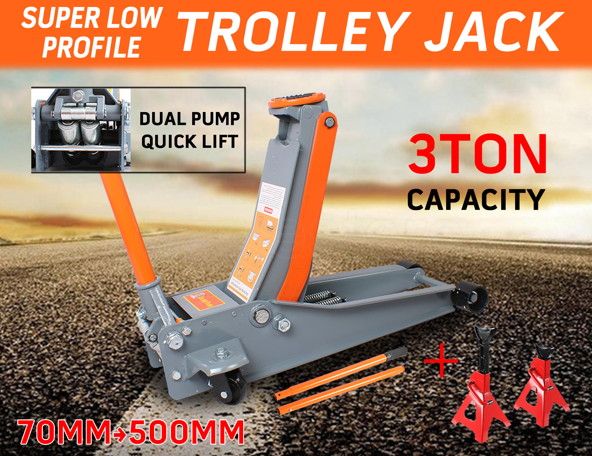 3T Super Low Profile Hydraulic Trolley Jack Dual Pump + 2x Adjustable Jack Stand